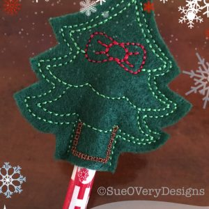 Tree with Bow Pencil Topper In The Hoop Single