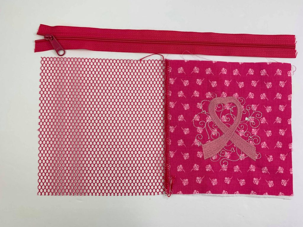sue overy designs, pink ribbon, serge~broidery, serger, embroidery, zipper bag